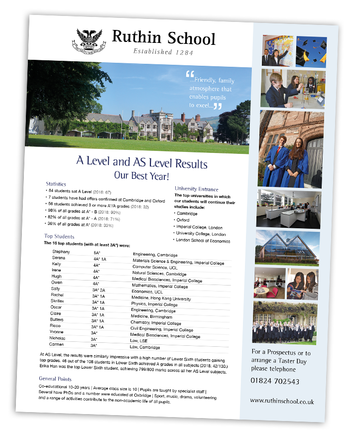 Ruthin School A Level results press release
