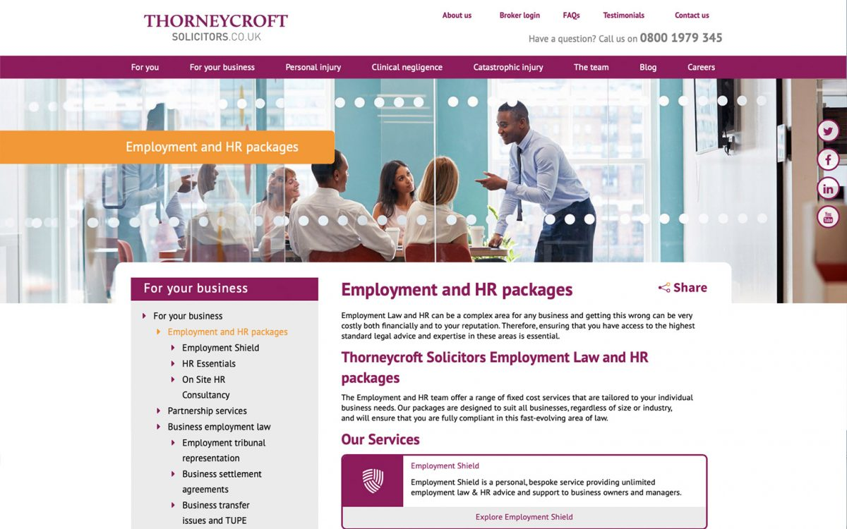 Thorneycroft solicitors employment webpage